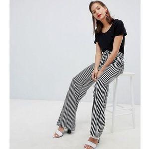 Mango Stripe Tie Front Wide Leg Trouser
